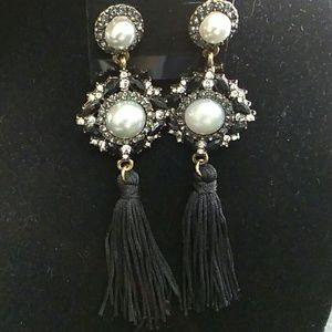 Stud earings faux black diamonds pearls tassle NEW